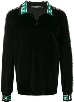 Dolce & Gabbana Zip-Up Logo Stripe Sweatshirt