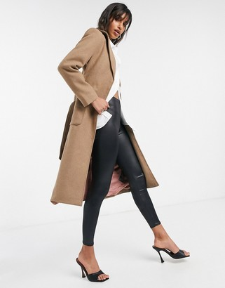 Y.A.S tailored coat with tie waist belt in camel