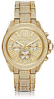 Michael Kors Wren Pave Gold-Tone Stainless Steel Chronograph Bracelet Watch