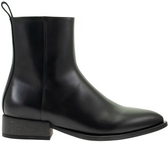 Brunello Cucinelli Mid Calf Boots Smooth Calfskin Boots With Precious Heel