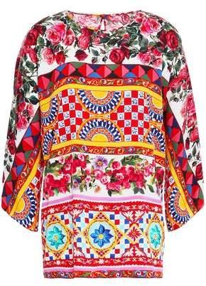 Dolce & Gabbana Printed Silk-blend Crepe De Chine Blouse