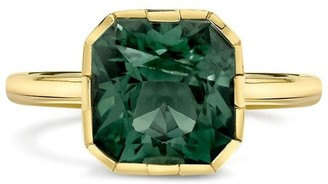 Andy Lif 18kt Yellow Gold Precision Cut Radiant Sea Foam Tourmaline, Diamond And Sea Foam Translucent Enamel Ring