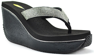 Volatile Women's Sandals BLACK - Black & Silver Sequin-Strap Ezteca Leather Wedge Sandal - Women