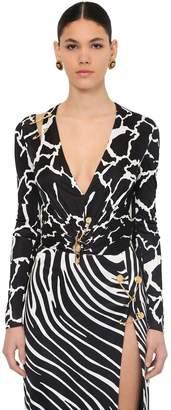 Versace Printed V Neck Stretch Jersey Bodysuit