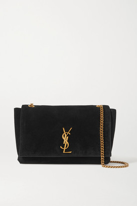 Saint Laurent Kate Reversible Leather And Suede Shoulder Bag - Black