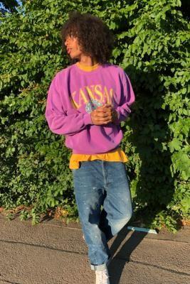 Urban Outfitters Kansas Purple Crew Neck Sweatshirt - Purple S at
