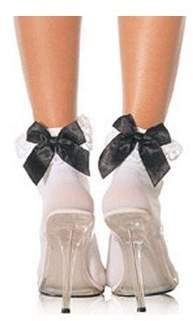 Leg Avenue Women's Stocking Bow and Lace Ruffle, White, One Size