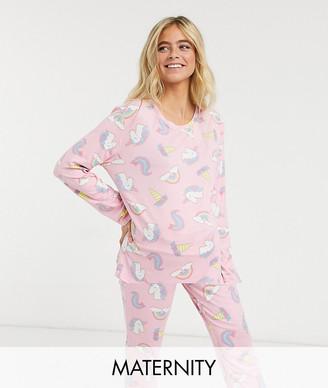 Chelsea Peers Maternity unicorn sleepover sack pyjama set