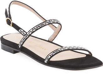 Stuart Weitzman Samarra Shimmery Studded Suede Ankle-Strap Sandals