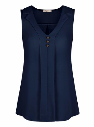 Moyabo Work Blouse Business Casual Women Tops Sleeveless Button Down Chiffon V Neck Tank Blouse Tops Navy Blue Small