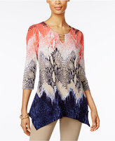 JM Collection Petite Printed Handkerchief-Hem Tunic, Only at Macy's