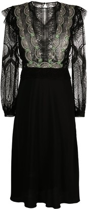 Alberta Ferretti Lace Embroidered Knee-Length Dress