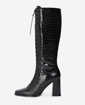 The Kooples Black heeled boots in croc-effect leather