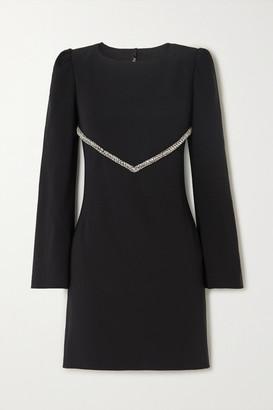 HANEY Audrey Crystal-embellished Crepe Mini Dress - Black