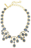 Oscar de la Renta Pavé; Oval Crystal Necklace, Blue/Golden