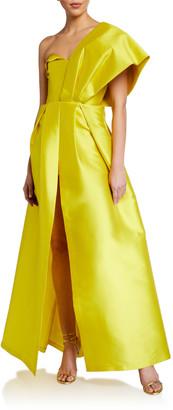 Sachin + Babi Clara One-Shoulder Bustier Ball Gown w/ Bow Detail