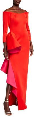 Jovani Off-the-Shoulder 3/4-Sleeve Asymmetrical Flounce Gown