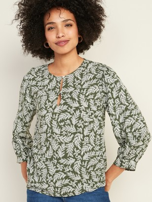 Old Navy Button-Front Smocked-Shoulder Top for Women