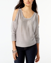 INC International Concepts Petite Metallic Cold-Shoulder Sweater, Created for Macy's