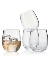 Martha Stewart Collection 4-Pc. Clear Acrylic Stemless Wine Glass Set