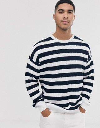 ASOS DESIGN knitted ribbed sweater with black and white stripe