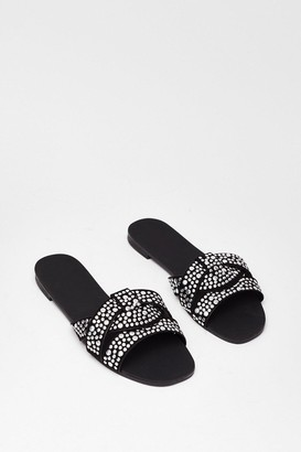 Nasty Gal Womens Lookin' Stud Baby Faux Leather Flat Sandals - Black - 3