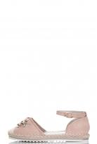 Quiz Pink Flower Sequin Hessian Pumps