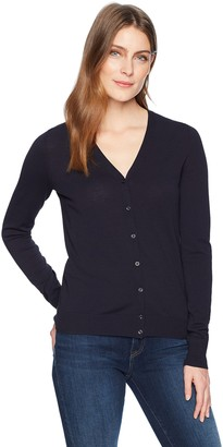 Lark & Ro Women's Buttoned Down V-Neck Cardigan Sweater