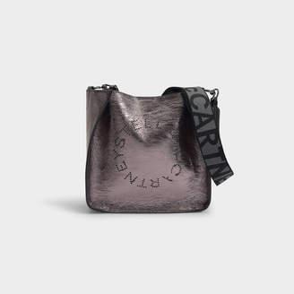 Stella McCartney Stella Logo Mini Crossbody Bag In Silver Eco Metallic Alter Nappa