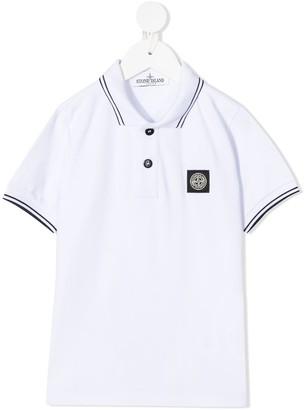 Stone Island Junior Contrast-Trim Logo Polo Shirt