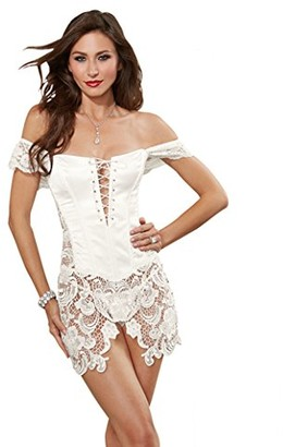 Dreamgirl Women's Satin and Venice lace Fully Boned Corset with lace up Front Detail
