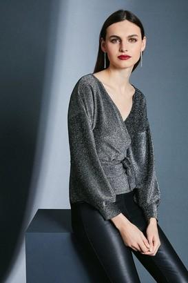 Karen Millen Glitter Off Shoulder Jersey Top