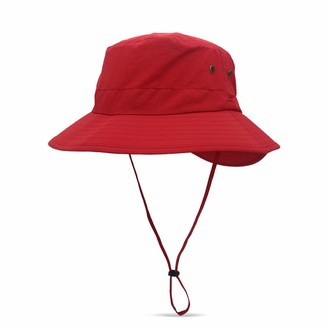 DORRISO Women Sun Hat Wide Brimmed Bucket Hat UPF 50+ Foldable Vacation Traveling Lightweight Hat Waterproof Polyester Womens Fisherman Cap Red A