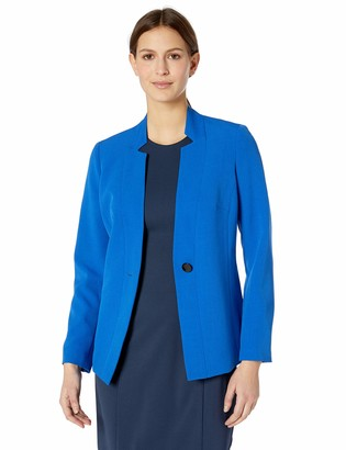 Kasper Women's 1 Button Inverted Notch Collar Stretch Crepe Jacket