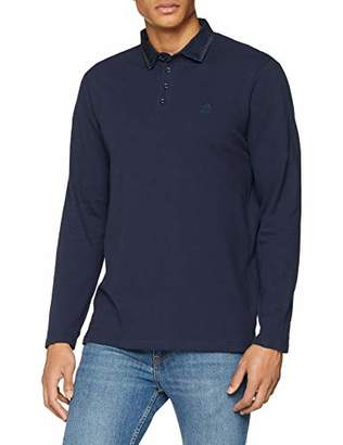 Jacamo Men's LS Stretch Pique Trim Polo Slim R Regular Fit Plain Polo Shirt,Small (Manufacturer Size: S)