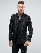 Asos Skinny Blazer In Black With Paisley Flock Detail