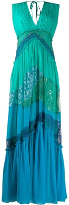 Alberta Ferretti Lace Panelled Maxi Dress
