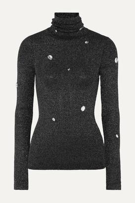 Christopher Kane Crystal-embellished Metallic Ribbed-knit Turtleneck Sweater - Gray