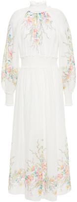 Zimmermann Zinnia Shirred Floral-print Ramie-voile Midi Dress