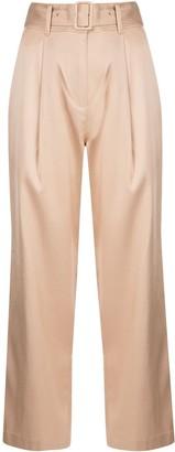 Fleur Du Mal Belted Wide-Leg Trousers