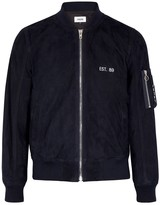 Frère Navy embroidered suede bomber jacket