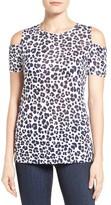 MICHAEL Michael Kors Women's Lenus Leopard Print Cold Shoulder Top