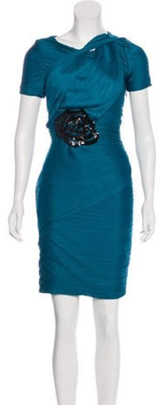 Halston Pleated Knee-Length Dress Blue Pleated Knee-Length Dress