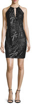 Carmen Marc Valvo Sleeveless Embroidered Sheath Cocktail Dress, Black