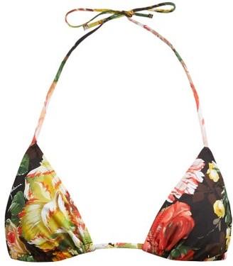 Dolce & Gabbana Floral-print Triangle Bikini Top - Black Multi