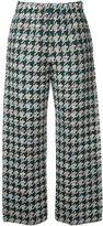 Coohem houndstooth pattern trousers - women - Cotton/Acrylic/Nylon/Wool - 38