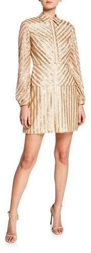 Aidan Mattox Sequin Stripe Long-Sleeve Cocktail Dress