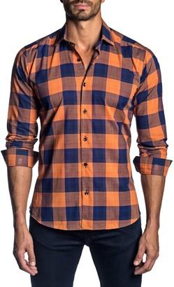 Jared Lang Semi-Fit Plaid-Print Shirt