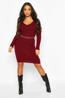 boohoo Petite V Neck Knit Midi Dress