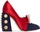 Gucci Embellished Satin Pumps - Red